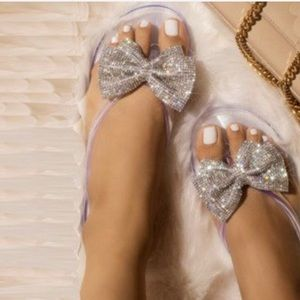 Shoes - Clear Jelly Rhinestone Bow Thong Sandals